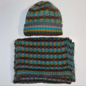 Missoni Zig Zag Scarf & Beanie Hat Brown Green Set